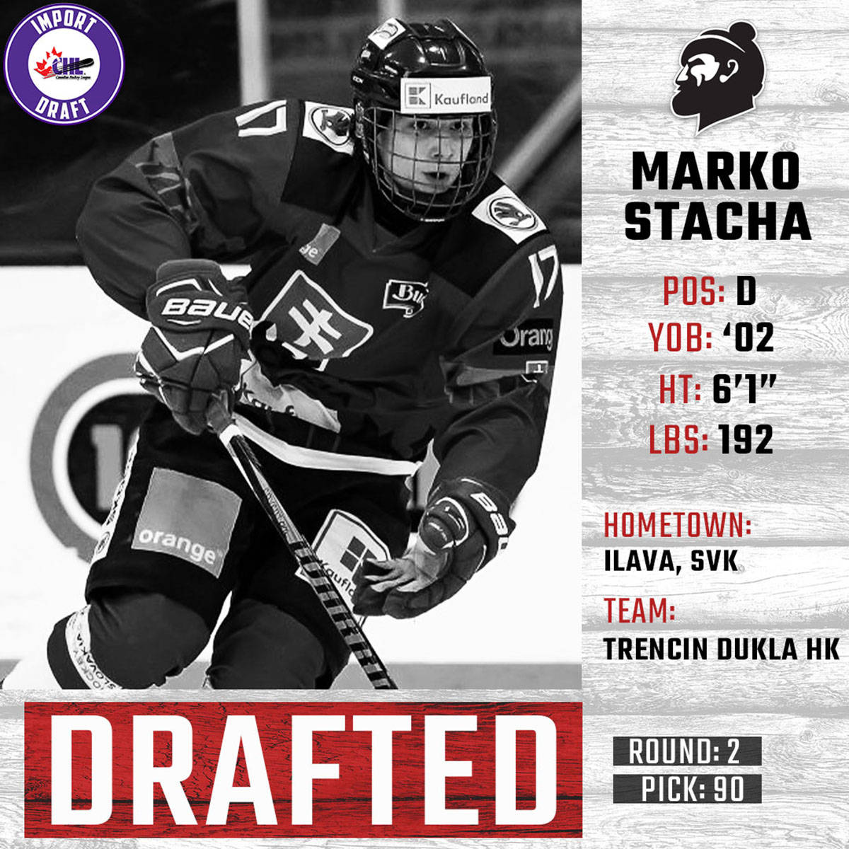 Vancouver Giants have signed 2002-born Slovakian defenceman Marko Stacha in the 2020 CHL Import Draft. (Courtesy Vancouver Giants)