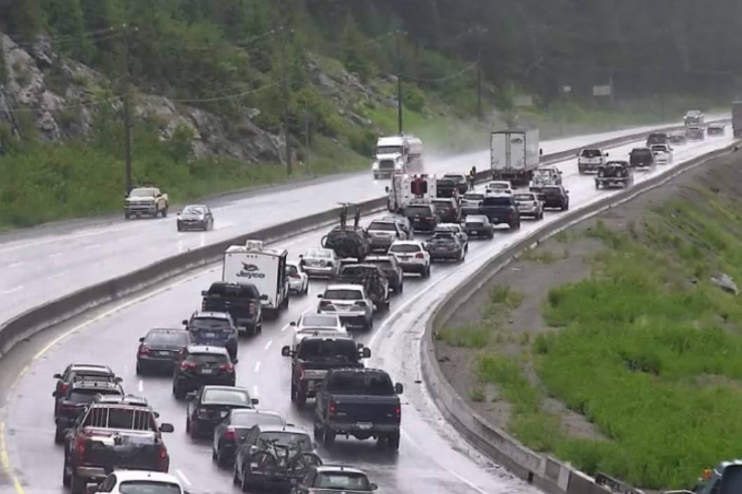 A vehicle incident closed northbound traffic on the Coquihalla around 2 p.m. on July 1, 2020. (DriveBC photo)