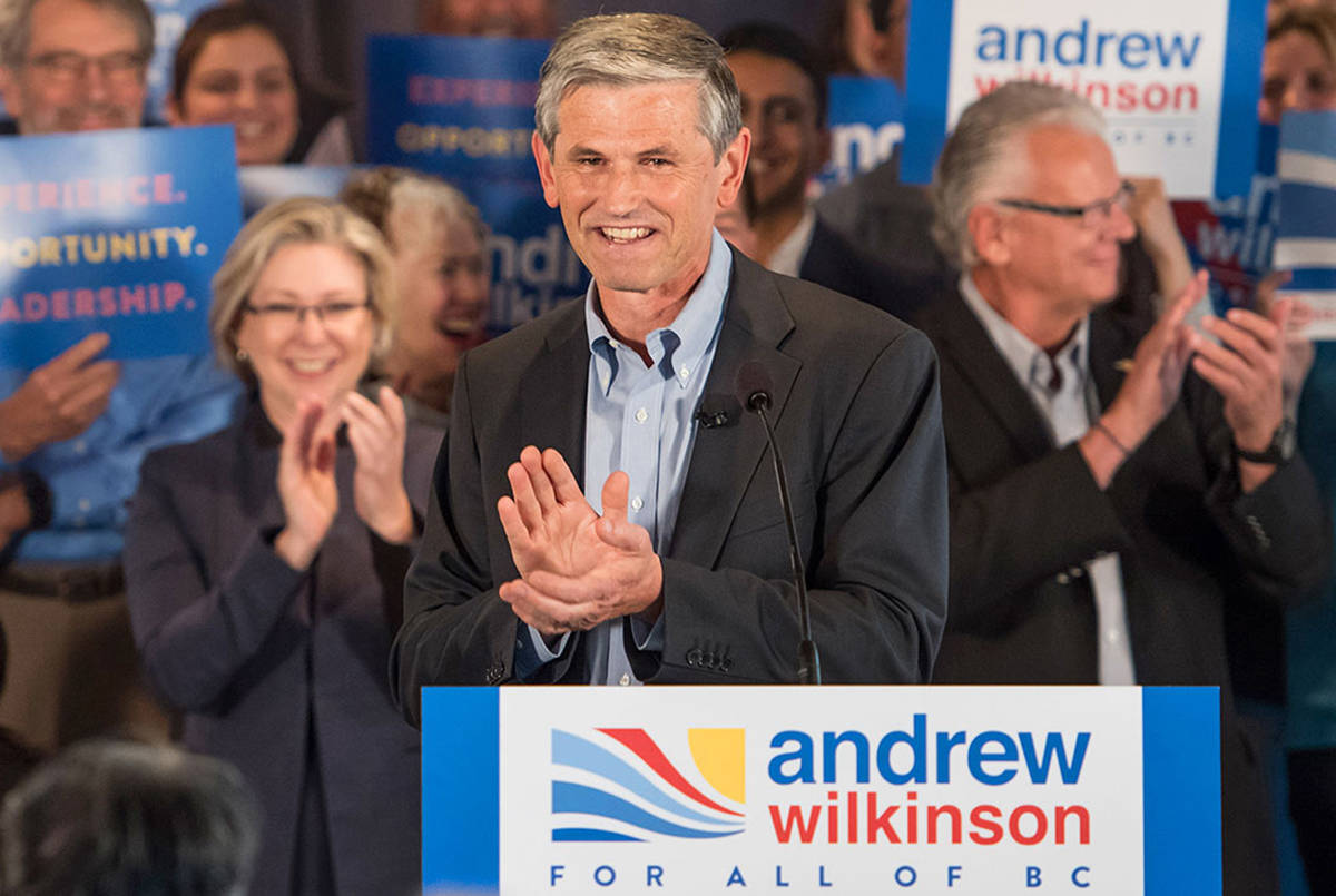 BC Liberal leader Andrew Wilkinson (foreground) and Langley MLA Mary Polak are both among the party members who are criticized for advertising in a Christian magazine opposing transgender rights. (Black Press Media files)