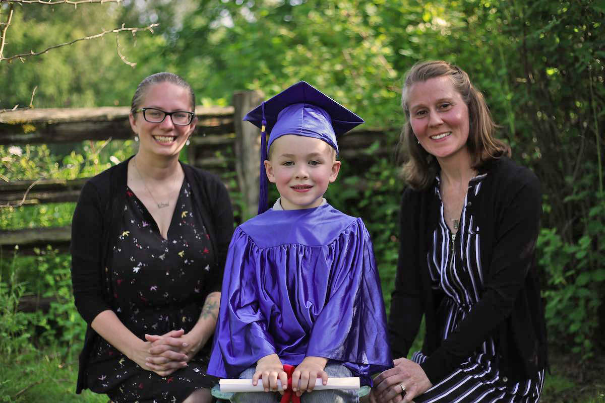 Five-year-old Harrison Smith, of Aldergrove, got to see his teachers Mrs. Vleeming and Blair one last time June 18. (Erica Matyga of Artistic Eye Photography/Special to the Star)