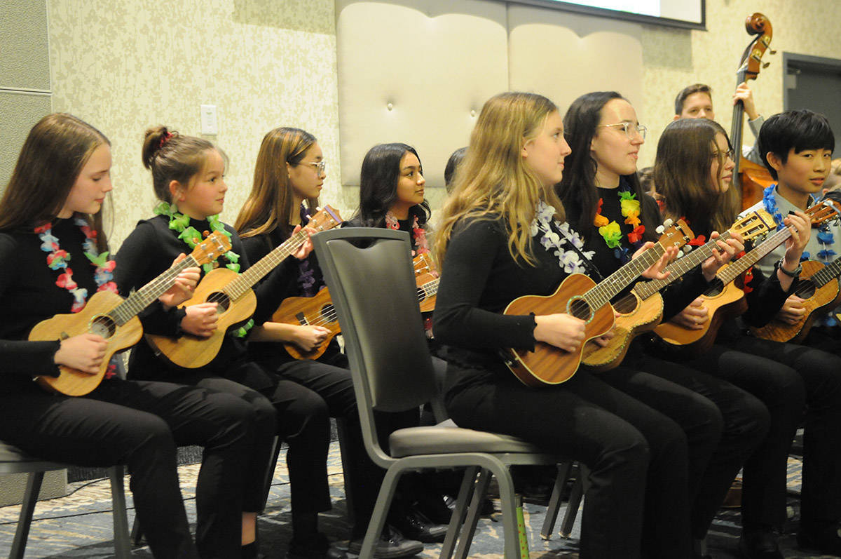 Langley Ukulele Ensemble performed at Langley City's volunteer appreciation banquet in early March. (Ryan Uytdewilligen/Langley Advance Times)
