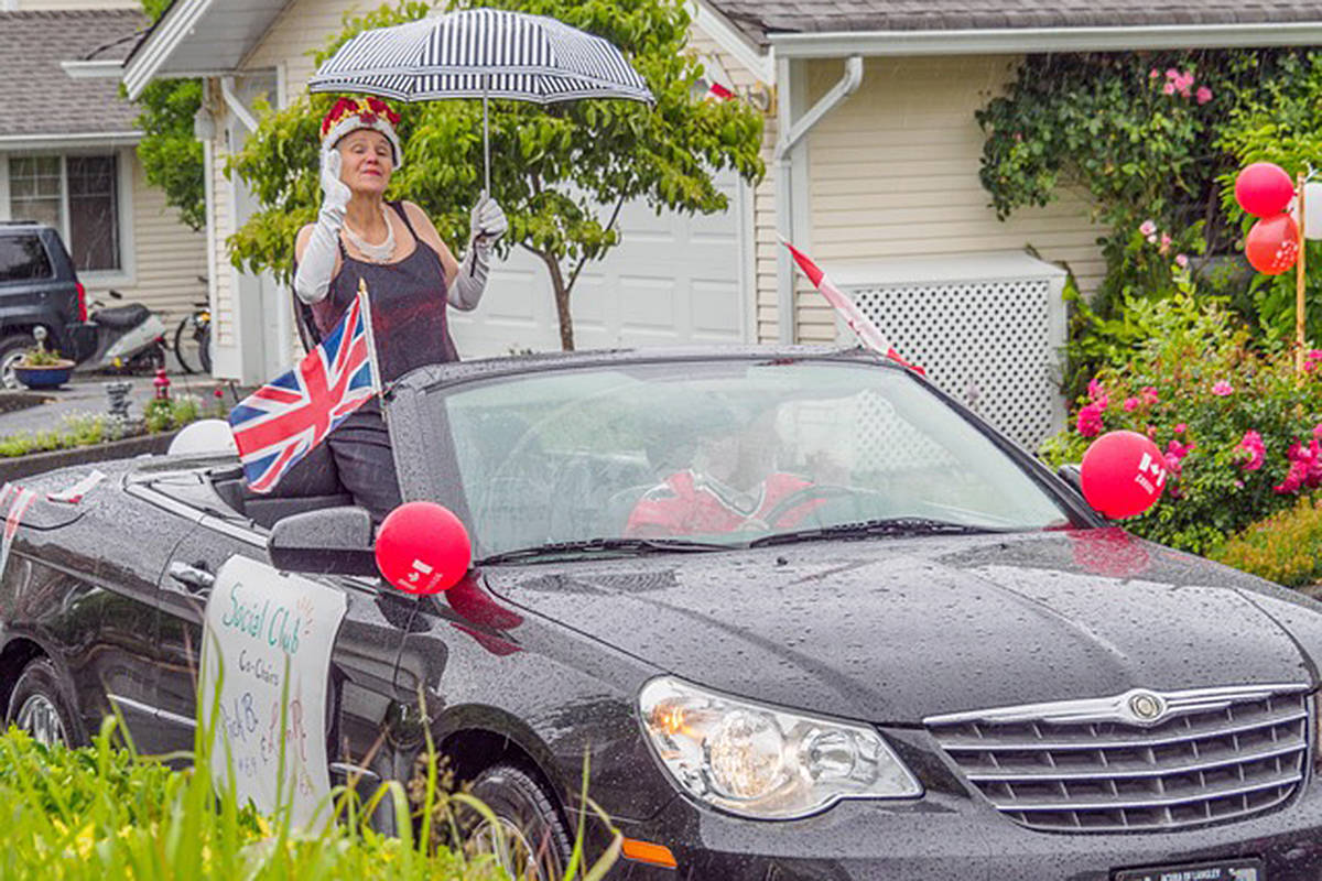 """""""Queen"""" Lynn Richards rode through the """"kingdom"""" of Chartwell Green on Canada Day. (Bev Genge/Special to the Langley Advance Times)"""