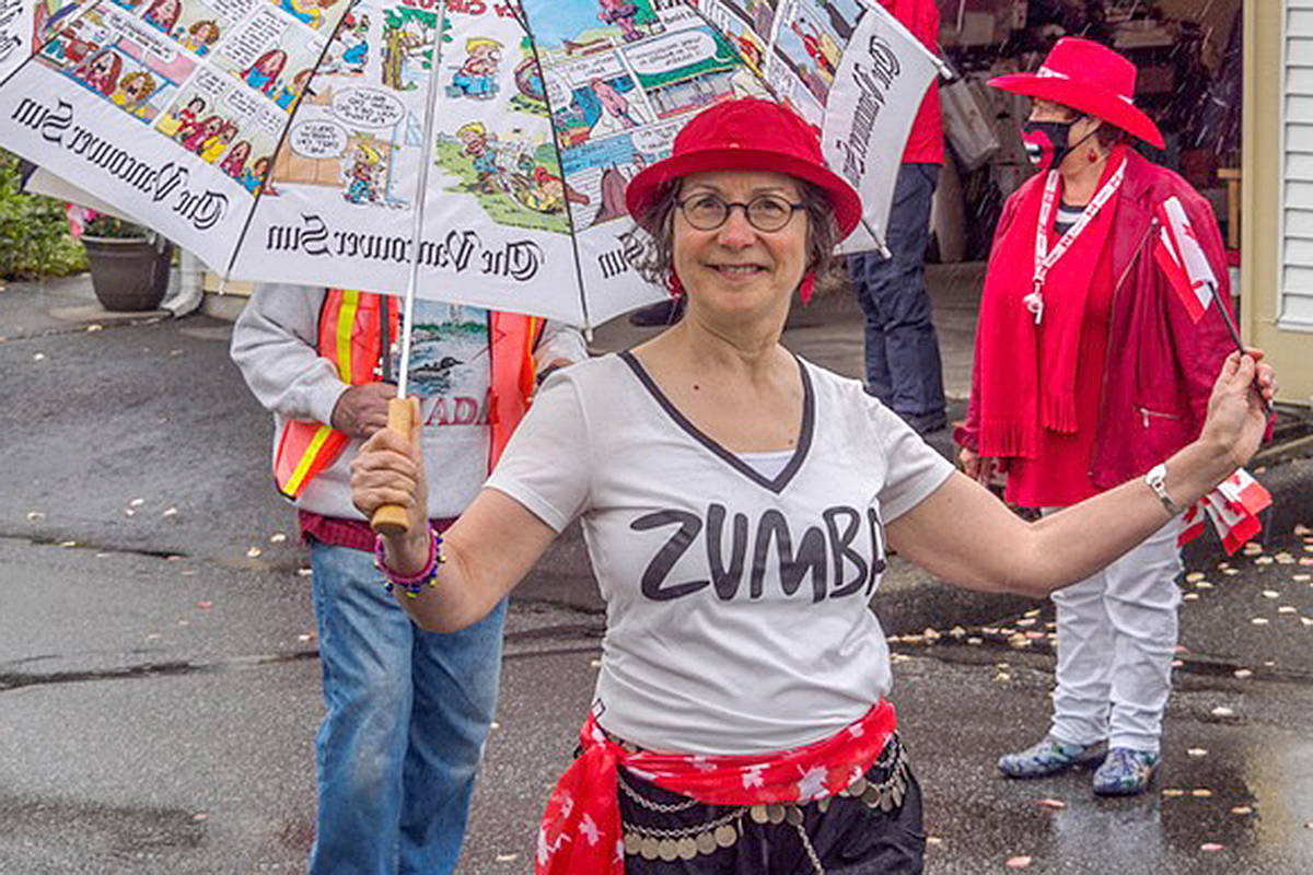 Zumba instructor Gale Doran joined the parade through Chartwell Green townhouse complex in Walnut Grove on Canada Day. (Bev Genge/Special to the Langley Advance Times)