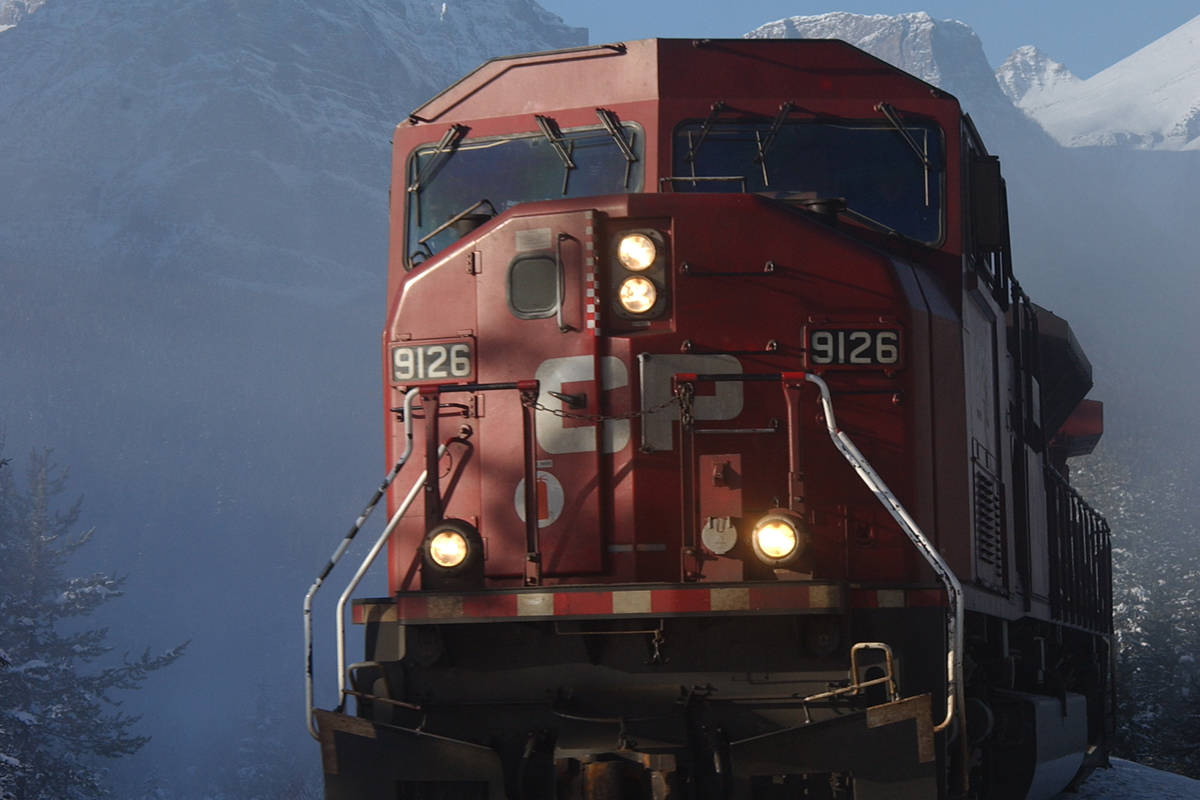 CP Rail confirmed that two trains in the process of making a train meet collided, resulting in a derailment of seven cars. (CP Rail photo)