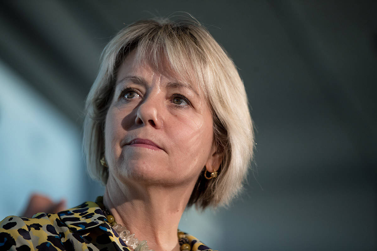 FILE – British Columbia provincial health officer Dr. Bonnie Henry listens during a news conference regarding the novel coronavirus COVID-19, in Vancouver, on Saturday, March 14, 2020. THE CANADIAN PRESS/Darryl Dyck