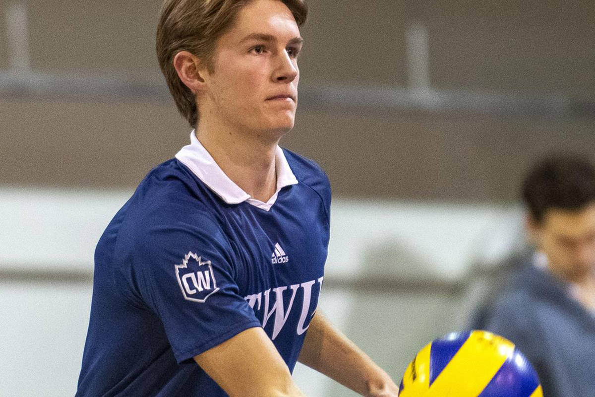 TWU's Mathias Elser will spend his third summer with Volleyball Canada's U21 program. He was one of six Spartans selected. (TWU file image)