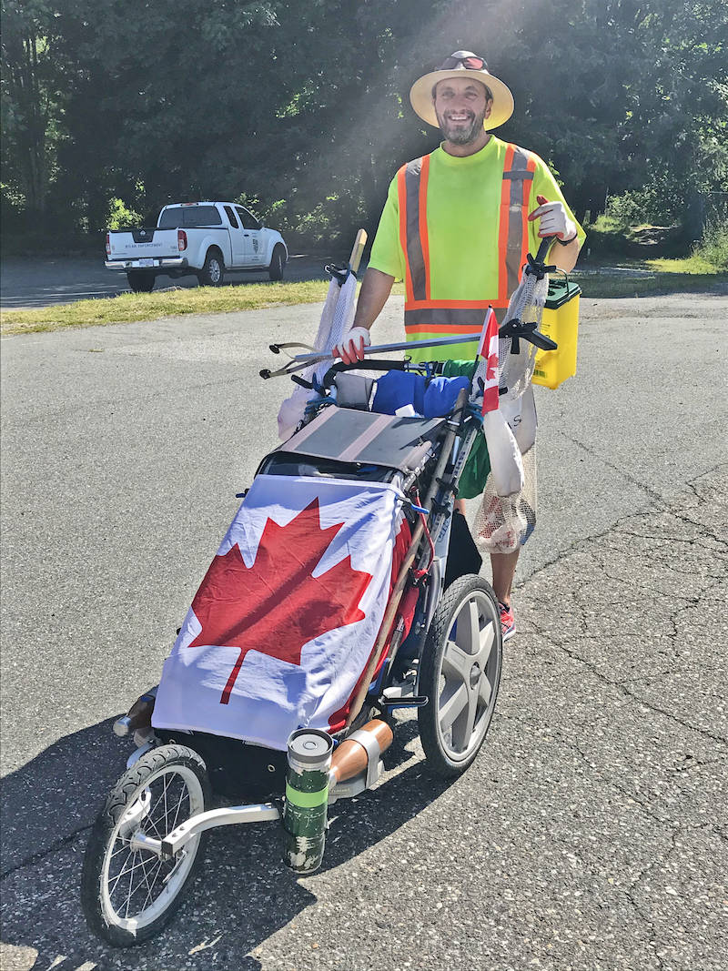 Cross-country litter collector Andy Sward came on foot Aldergrove to partner with Jocelyn Titus of Cleaning up Aldergrove and Surrey Trash Talk's Rob Rice. (Sarah Grochowski/Aldergrove Star)