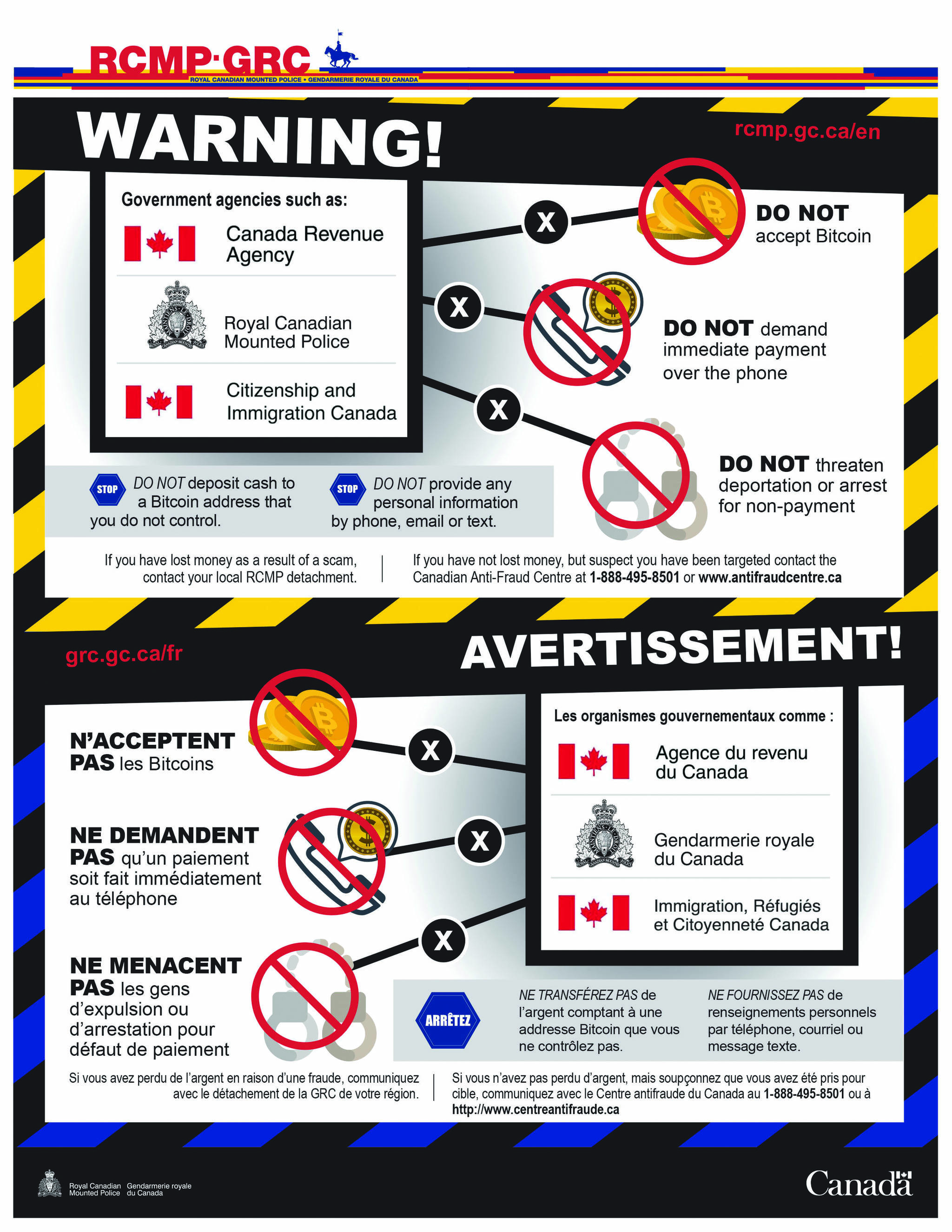 An RCMP/Government of Canada poster reminds that police and government agencies do not demand payment or make threats of arrest for non-payment.