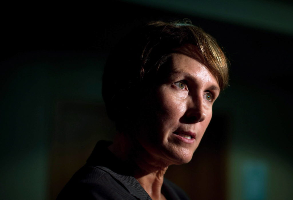 B.C. Representative for Children and Youth Mary Ellen Turpel-Lafond speaks to a reporter in Vancouver on November 13, 2015. (THE CANADIAN PRESS/Darryl Dyck)