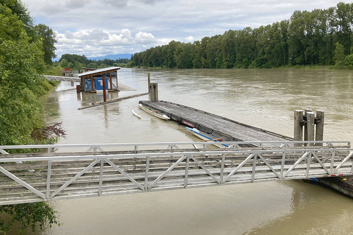 The Fraser River is running high this time of year. A local resident took this photo of the Bedford Channel in Fort Langley on July 7, 2020. (Walt Brouwer/Special to the Langley Advance Times)