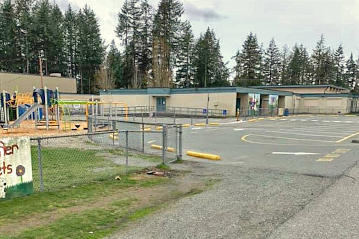 Someone wrote the N-word and paimted male genitalia on the exterior walls of North Otter Elementary this past weekend. (Aldergrove Star files)