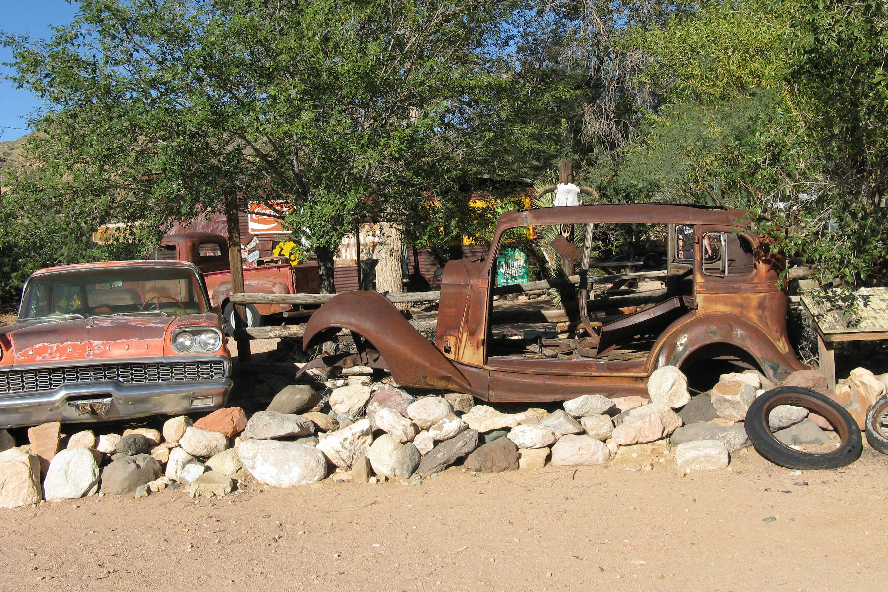 Old cars are on display at the Hackberry General Store in Arizona. The general store is along a famous highway. Do you know the name of this highway? (John Arendt - Black Press)