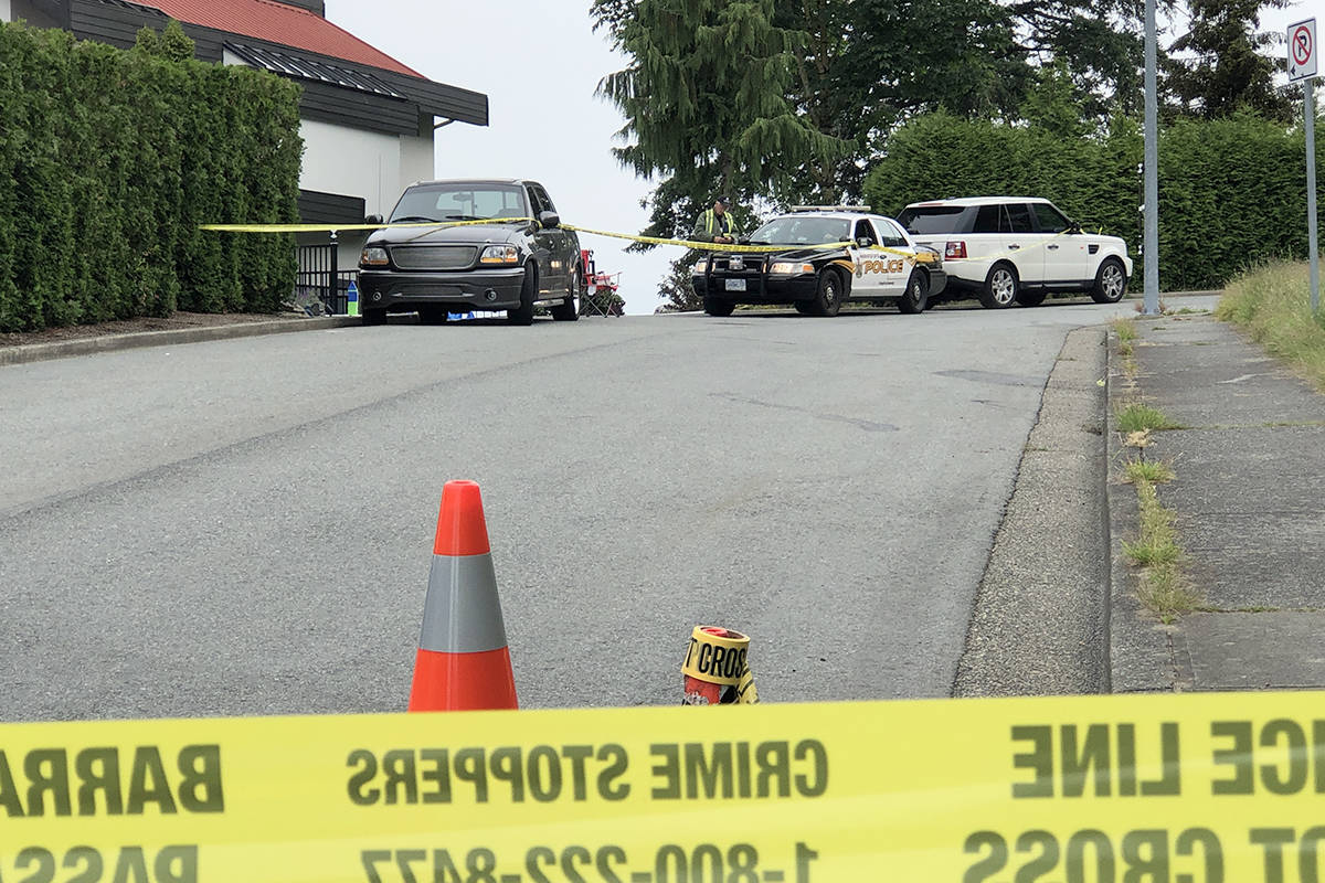 The taped-off scene on Lucern Crescent just before 8:30 a.m. the morning after on July 11. (Patrick Penner / Mission Record)