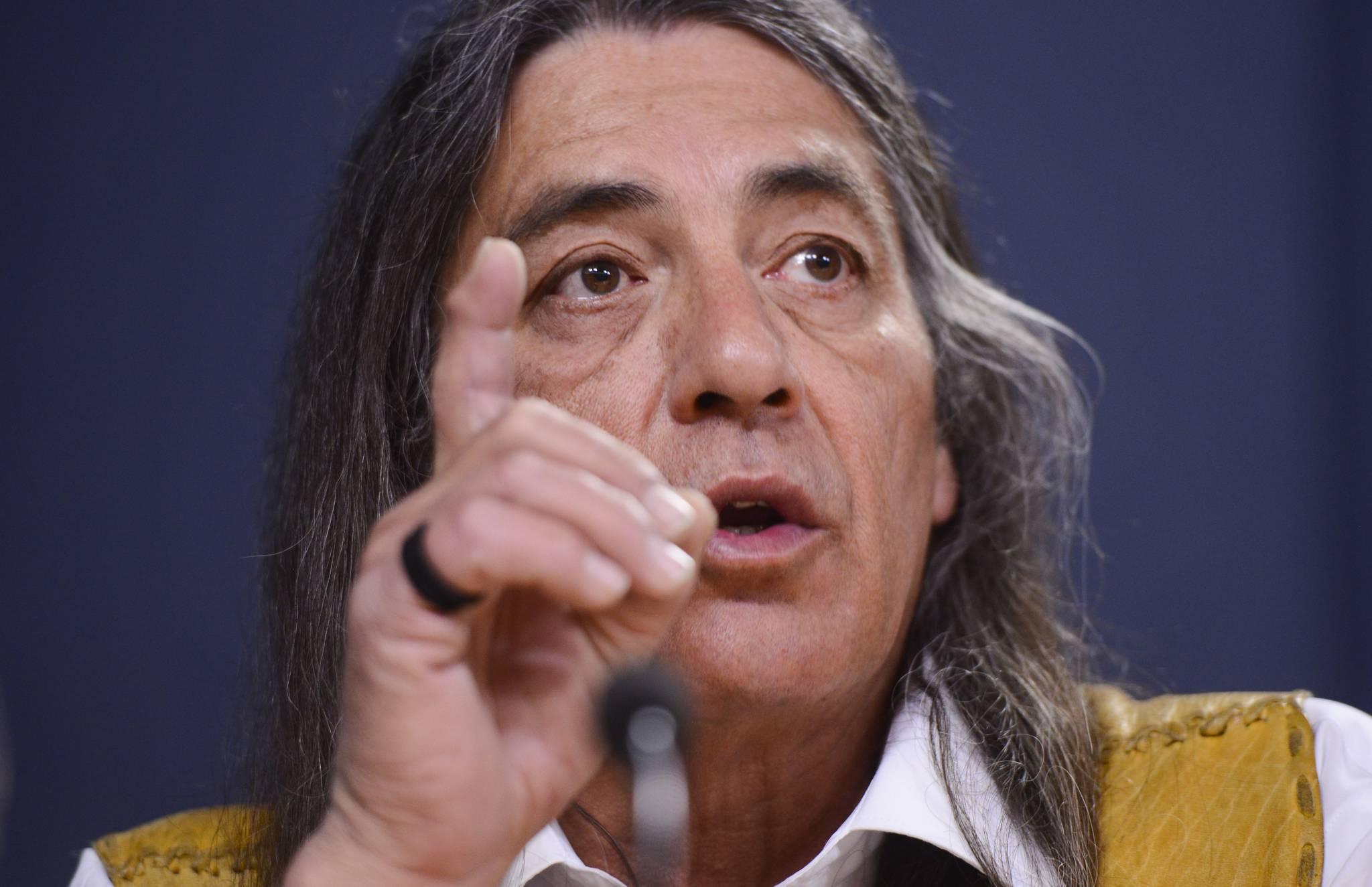 Mohawk Council of Kanesatake Grand Chief Serge Otsi Simon discusses the current situation and actions relating to the Wet'suwet'en hereditary chiefs during a press conference at the National Press Theatre in Ottawa on Tuesday, Feb. 18, 2020. THE CANADIAN PRESS/Sean Kilpatrick