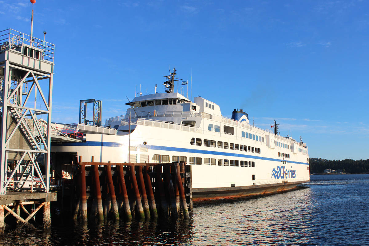 Ferries from Departure Bay ferry terminal are now sailing at 70 per cent capacity, says B.C. Ferries. The COVID-19 pandemic saw 50 per cent capacity. (Nanaimo News Bulletin file)