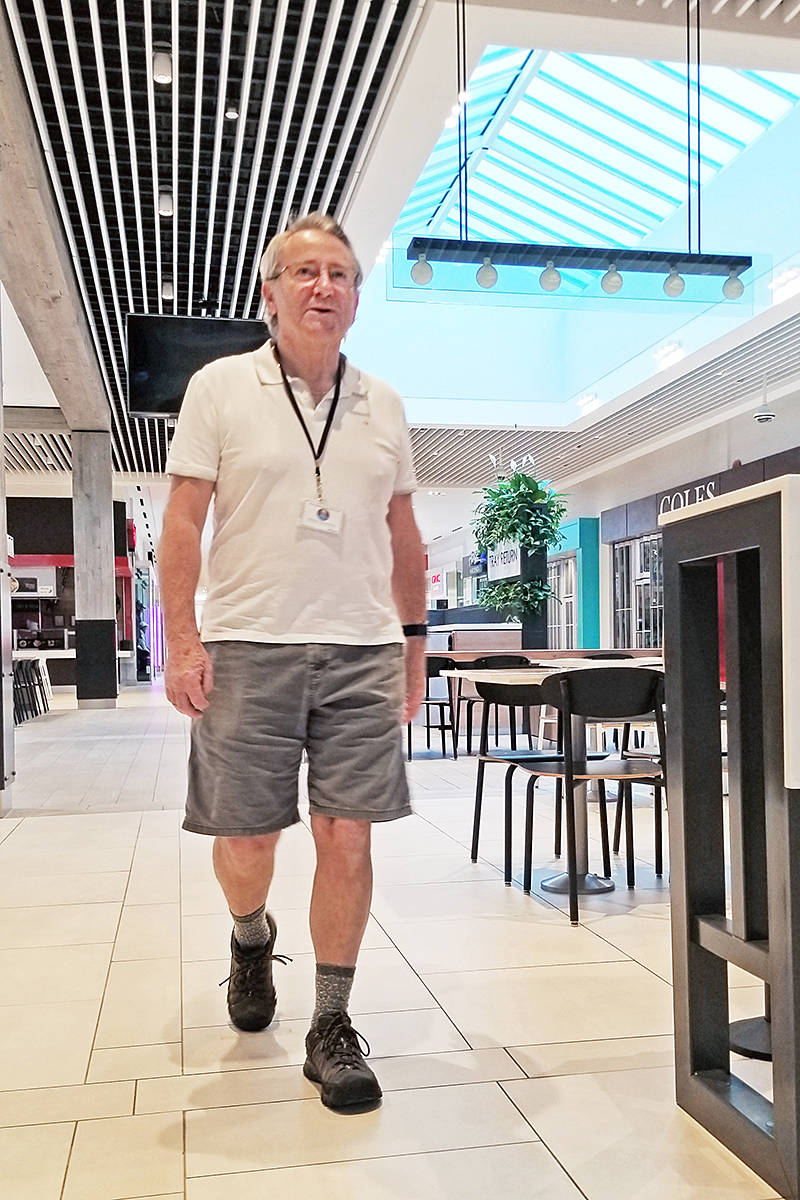 Robert van den Ouden set a brisk pace as he walked through Willowbrook Shopping Centre in this photo, taken before the COVID-19 pandemic forced a three-month shutdown of the early morning exercises for seniors. (Langley Advance Times file)