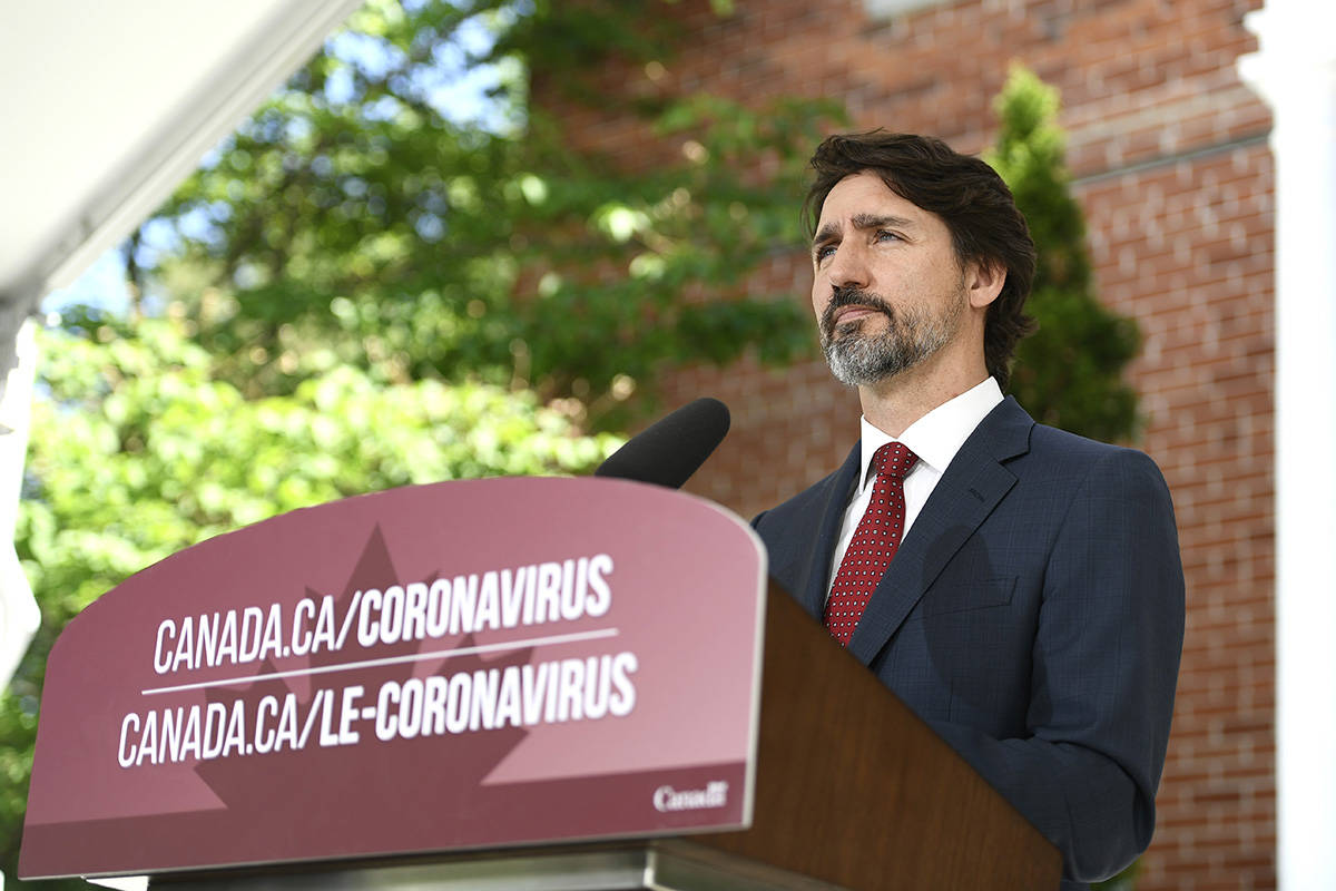 Prime Minister Justin Trudeau speaks during a news conference on the COVID-19 pandemic outside his residence at Rideau Cottage in Ottawa, on Thursday, June 18, 2020. THE CANADIAN PRESS/Justin Tang