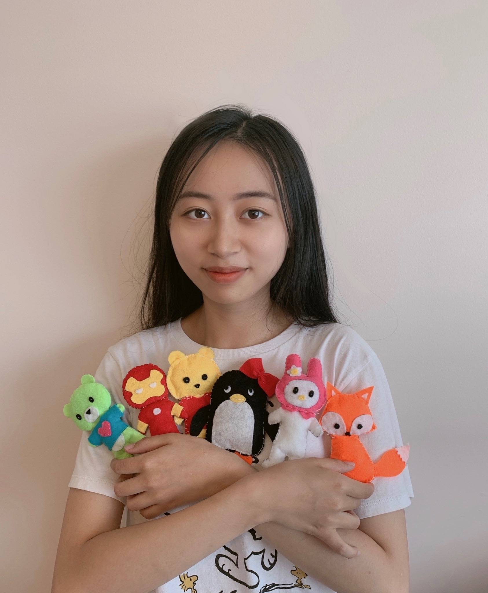 R.E. Mountain Secondary student Alice He, 17, (pictured) has started a summer project with fellow classmate Amy Yim, 17, to sew handmade felt toys to donate to kids at Langley Memorial Hospital in September. (Special to Langley Advance Times)
