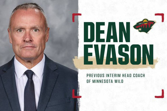Minnesota Wild took to social media to announce Dean Evason has been named full-time head coach after a tour of duty as interim head coach (Twitter)