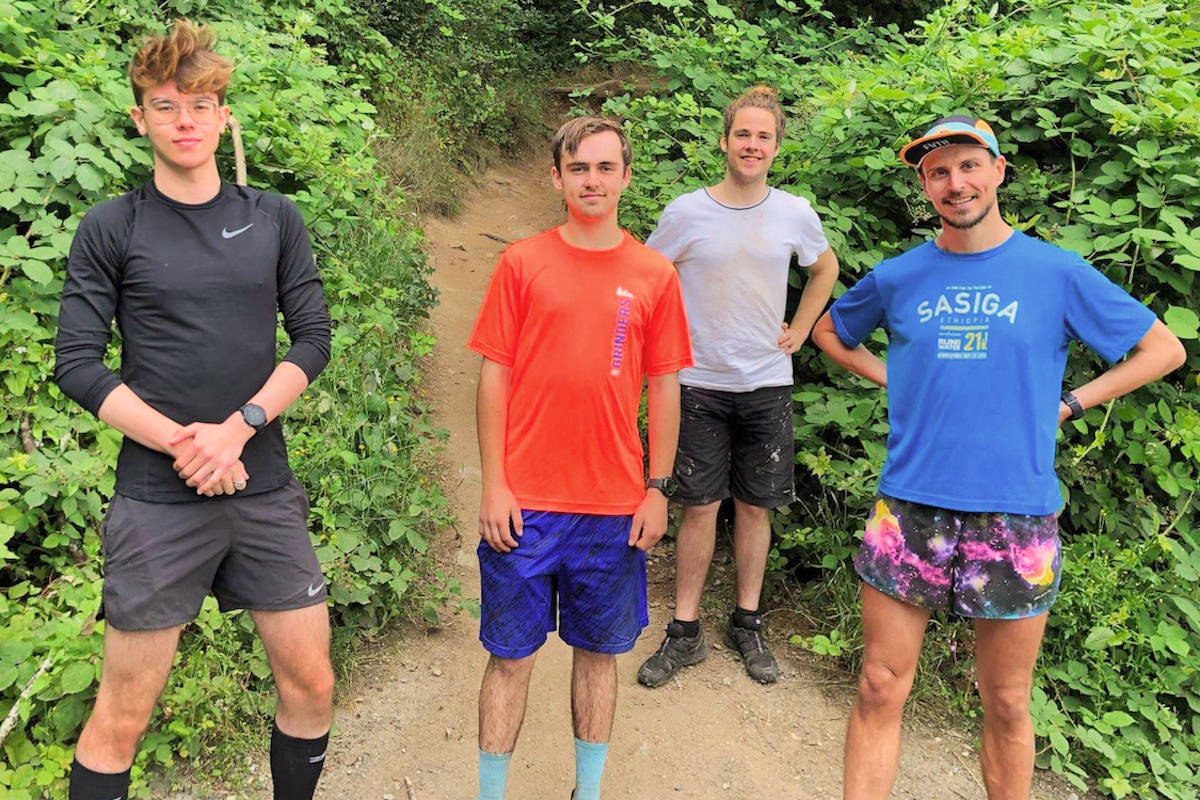 Aldergrove resident Kaden Van Buren trekked up and down the Abby Grind 19 times on his 19th birthday Saturday, July 12. He was accompanied throughout the day by trail runners he'd met on previous hikes.