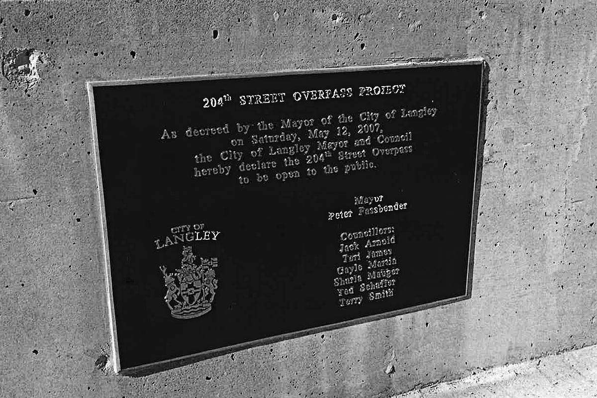 Someone stole both commemorative plaques from the 204th Street overpass. (Langley RCMP)