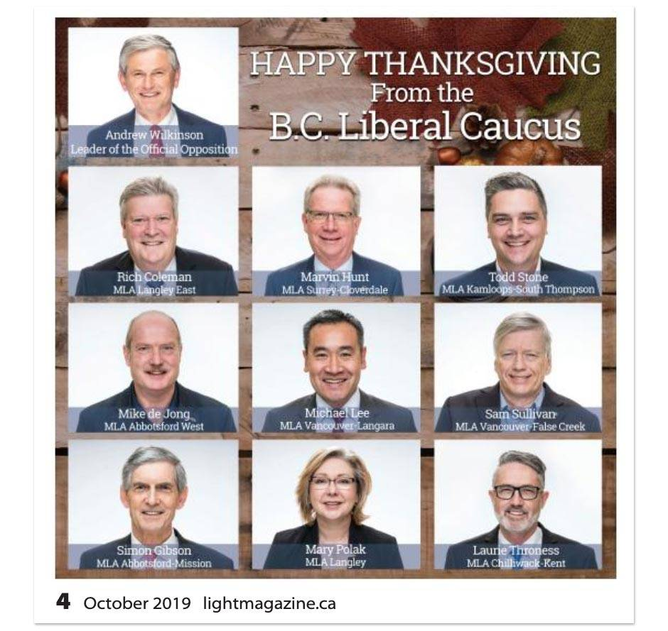 BC Liberal ad in the Oct. 4, 2019 edition of The Light Magazine.