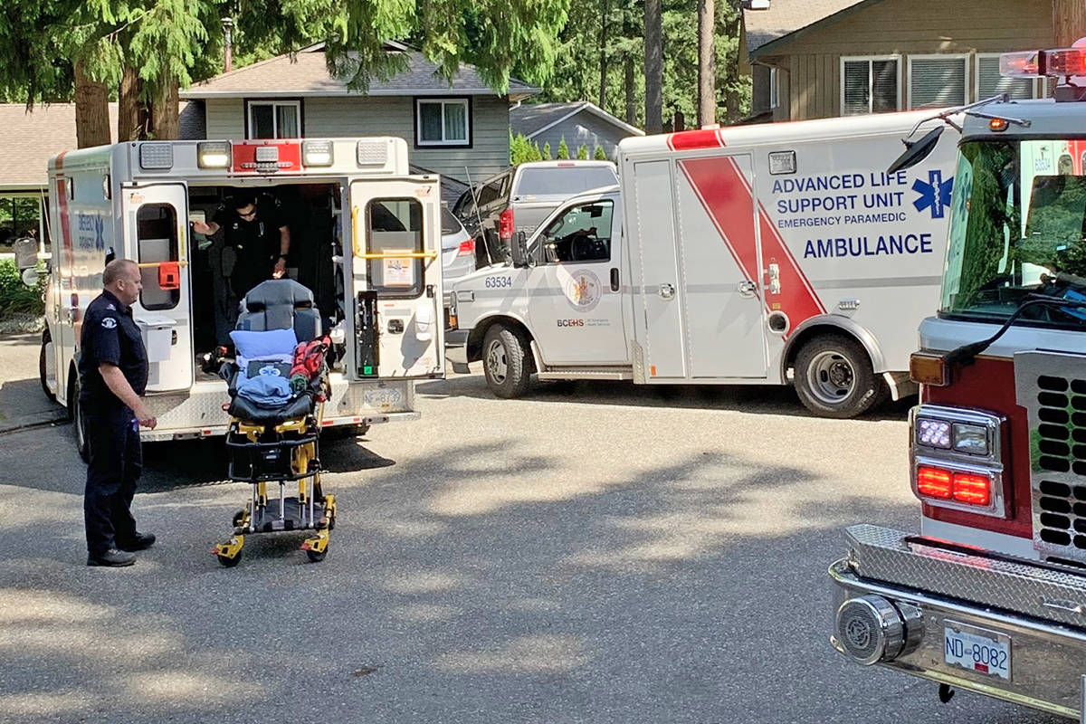 A body was found Wednesday, July 15, 2020 after Langley RCMP and the Langley Fire Department responded to a report of a brush fire in the area of 46A Avenue and 196A Street near the Surrey-Langley border (Carol Anne Carlson/special to Langley Advance Times)