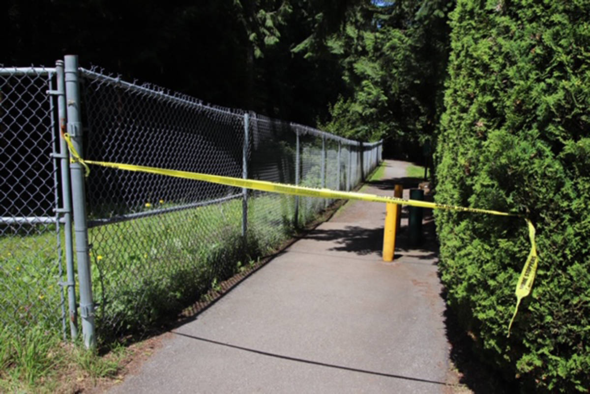 A body was found Wednesday, July 15, 2020 after Langley RCMP and the Langley Fire Department responded to a report of a brush fire in the area of 46A Avenue and 196A Street near the Surrey-Langley border (Shane MacKichan photo)