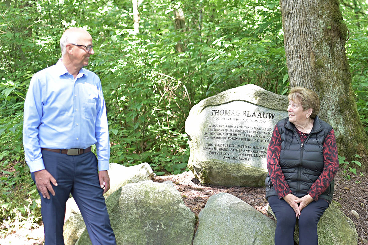 Langley-Aldergrove MP van Popta maintained social distancing when he visited the Blaauw Eco Forest, together with philanthropist Ann Blaauw on Tuesday, July 14, 2020 (Winnie Lui/special to Langley Advance Times)