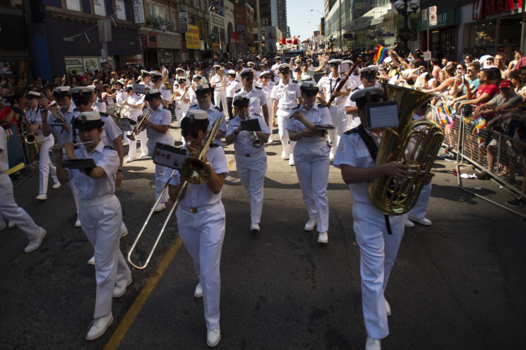 """The Royal Canadian Navy is looking to chart new waters by dropping the term """"seaman"""" when referring to its most junior sailors and replacing it with something more gender-neutral. Members of the Royal Canadian Navy take part in the 2019 Pride Parade in Toronto, Saturday, June 23, 2019. THE CANADIAN PRESS/Andrew Lahodynskyj"""