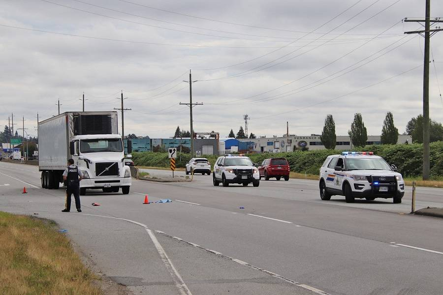 A pedestrian is 'not expected to survive' after a serious crash in Cloverdale July 16. (Photo: Shane MacKichan)