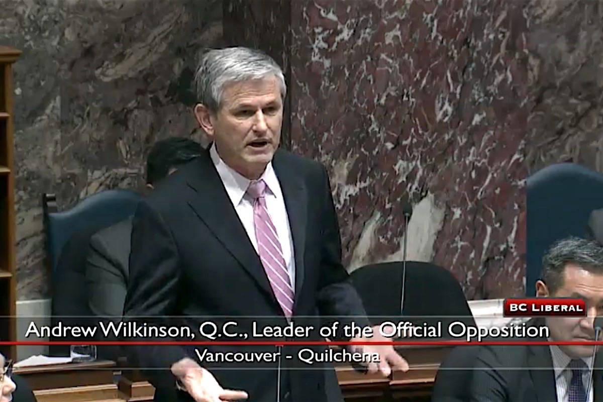 B.C. Liberal leader Andrew Wilkinson speaks in the legislature, Feb. 26, 2020. (Hansard TV)