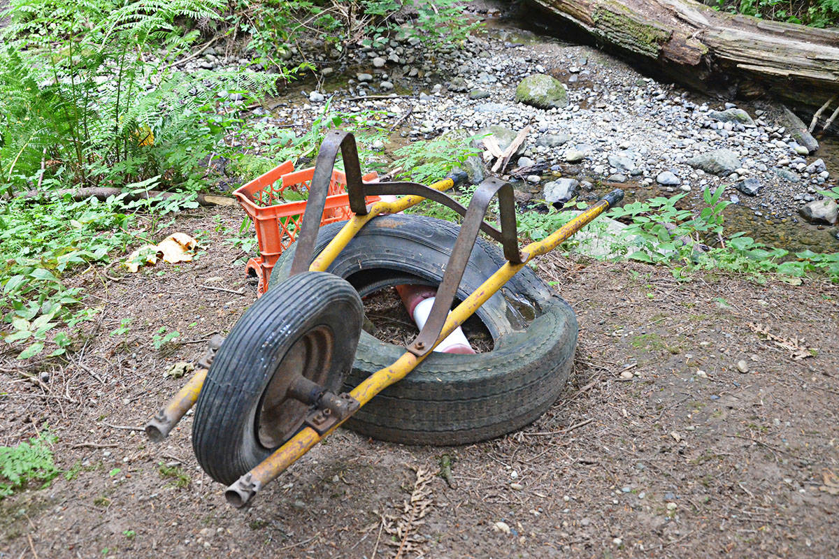 The remains of a wheelbarrow, abandoned near the side of the creek by the illicit bike park. (Matthew Claxton/Langley Advance Times)