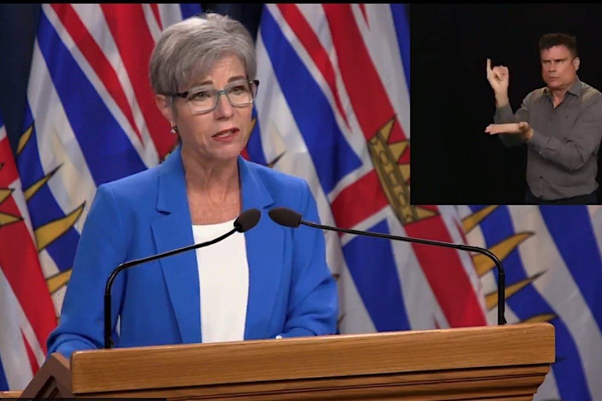B.C. Municipal Affairs and Housing Minister Selina Robinson takes questions on changes to strata insurance rules, B.C. legislature, June 23, 2020. (B.C. government)