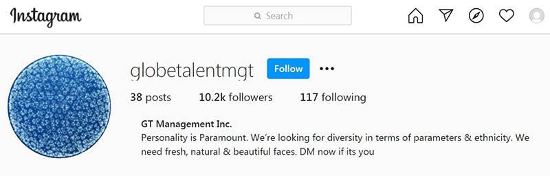 One of three modelling agencies allegedly run by Kashif Ramzan. (Screenshot: Surrey RCMP)