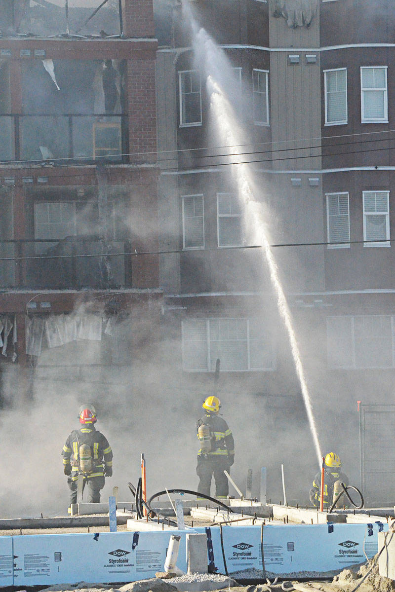 Fire seriously damaged a four-storey Langley City apartment building on Friday evening. (Matthew Claxton/Langley Advance Times)