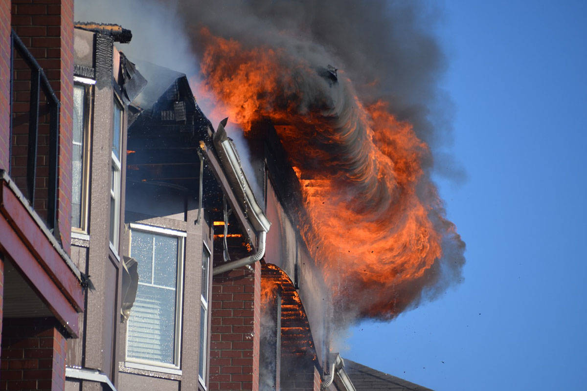 Fire gutted at Langley City apartment building on Friday evening. (Curtis Kreklau/South Fraser News Services)