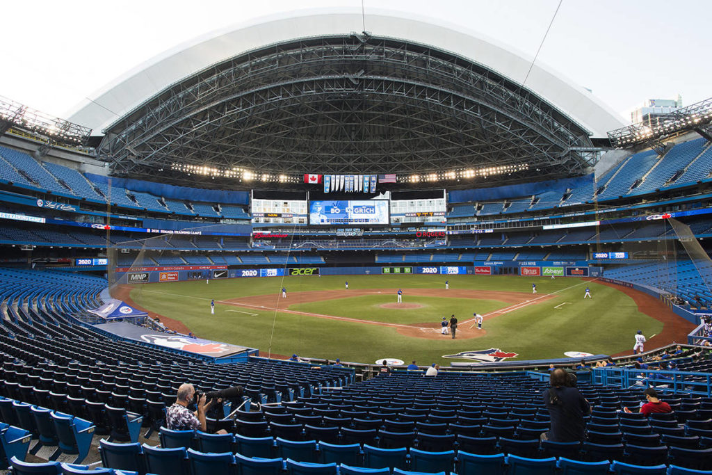 Toronto Blue Jays play an MLB intersquad baseball action in Toronto on Friday, July 17, 2020. THE CANADIAN PRESS/Nathan Denette
