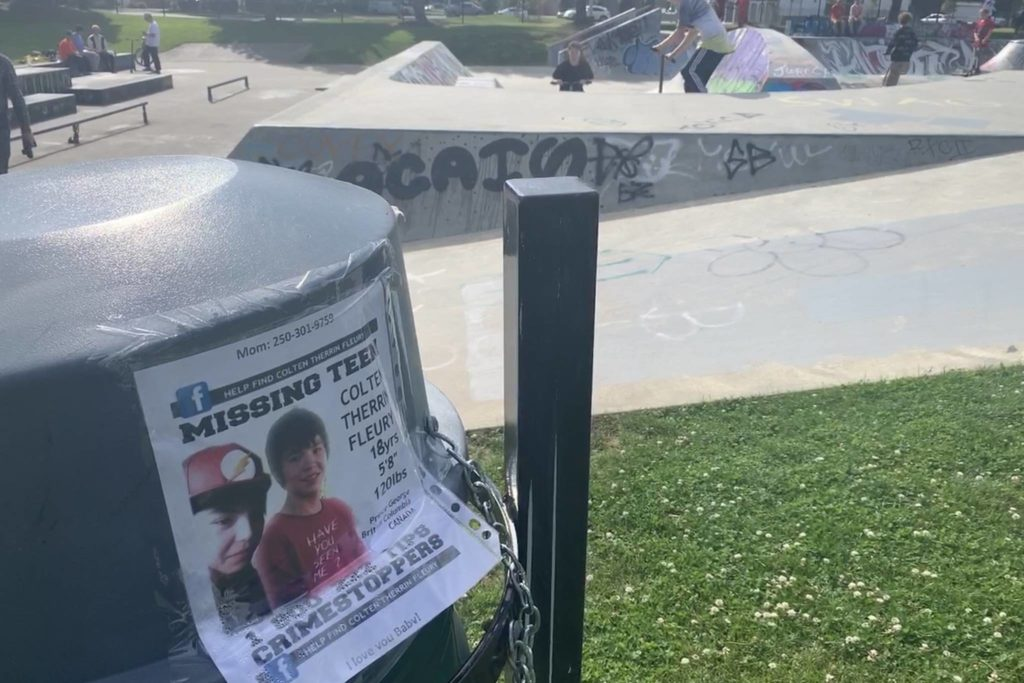 Phyllis Fleury put up a poster Chilliwack Landing Skatepark in July 2020 for her son Colten she hasn't seen since May 2018 in Prince George. Phyllis said she has heard Colten had been seen in Abbotsford and Chilliwack. (Paul Henderson/ The Progress)