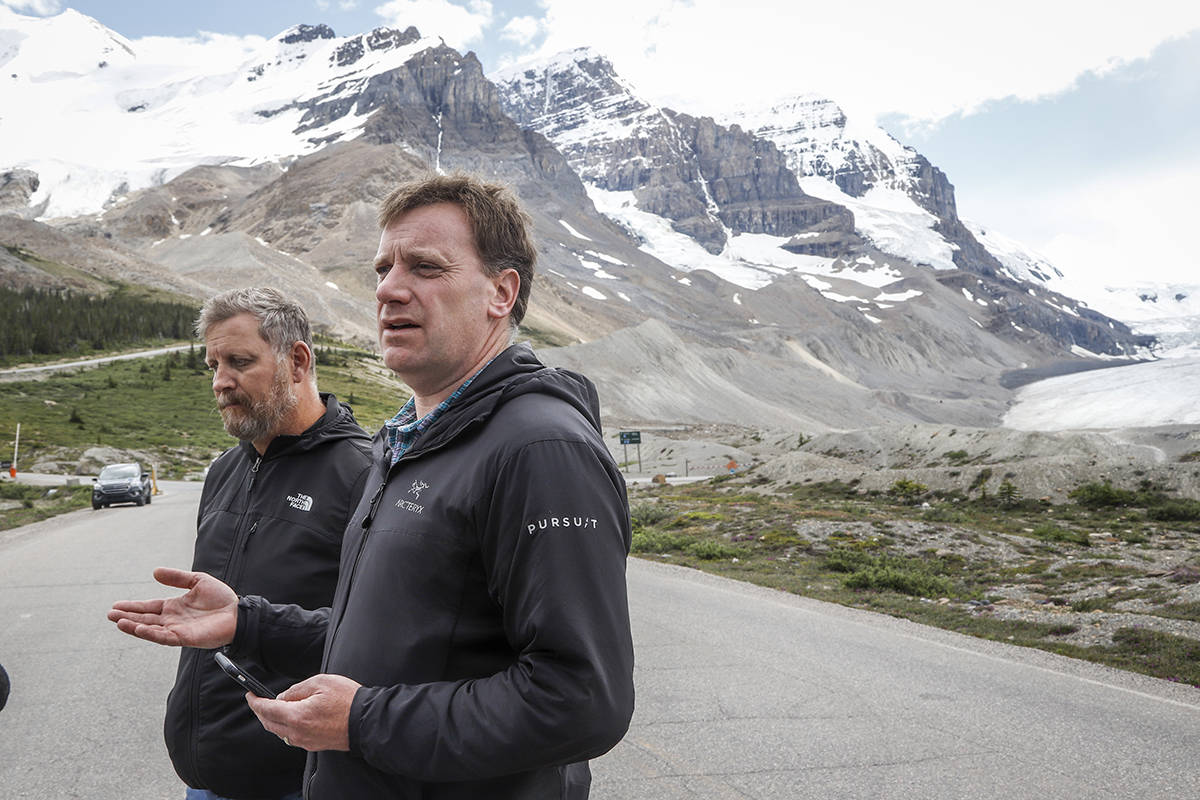 Stuart Back, vice president of operations with Pursuit, speaks to the media after three passengers were killed when a glacier sightseeing bus operated by the company rolled over at the Columbia Icefields near Jasper, Alta., Sunday, July 19, 2020. THE CANADIAN PRESS/Jeff McIntosh