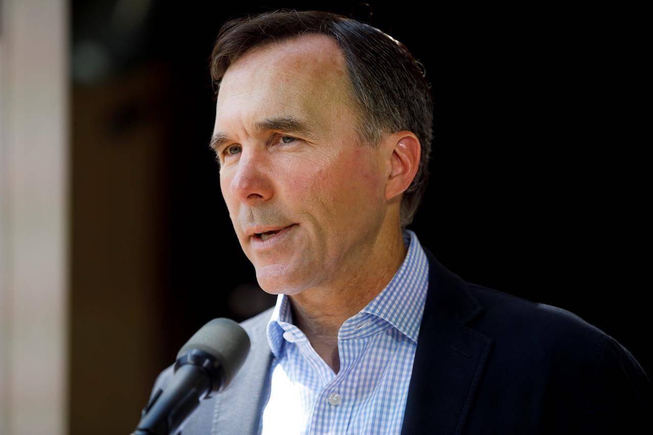 Canada's Minister of Finance Bill Morneau speaks to media during a press conference in Toronto, Friday, July 17, 2020. THE CANADIAN PRESS/Cole Burston