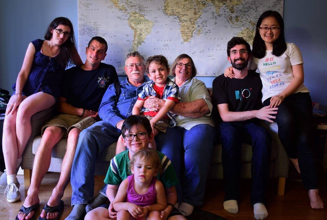 COVID-19 has forced the near-shut down of the Canadian immigration system, disrupting thousands of lives, including that of John and Donna McCall, pictured in this family handout photo from last fall with their family. The McCall children, Ian (second from right) and Meghan (far left), are American and can't come to Canada to help take care of their mother, whose health is failing. THE CANADIAN PRESS/HO-McCall Family Mandatory Credit