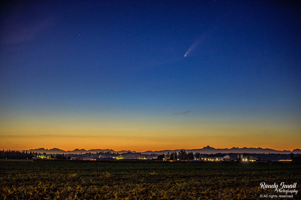 In this photo shared to Twitter July 14, 2020, photographer Randy Small writes about capturing the NEOWISE comet shooting towards Langley in the night sky. (Randy Small/Special to Langley Advance Times)