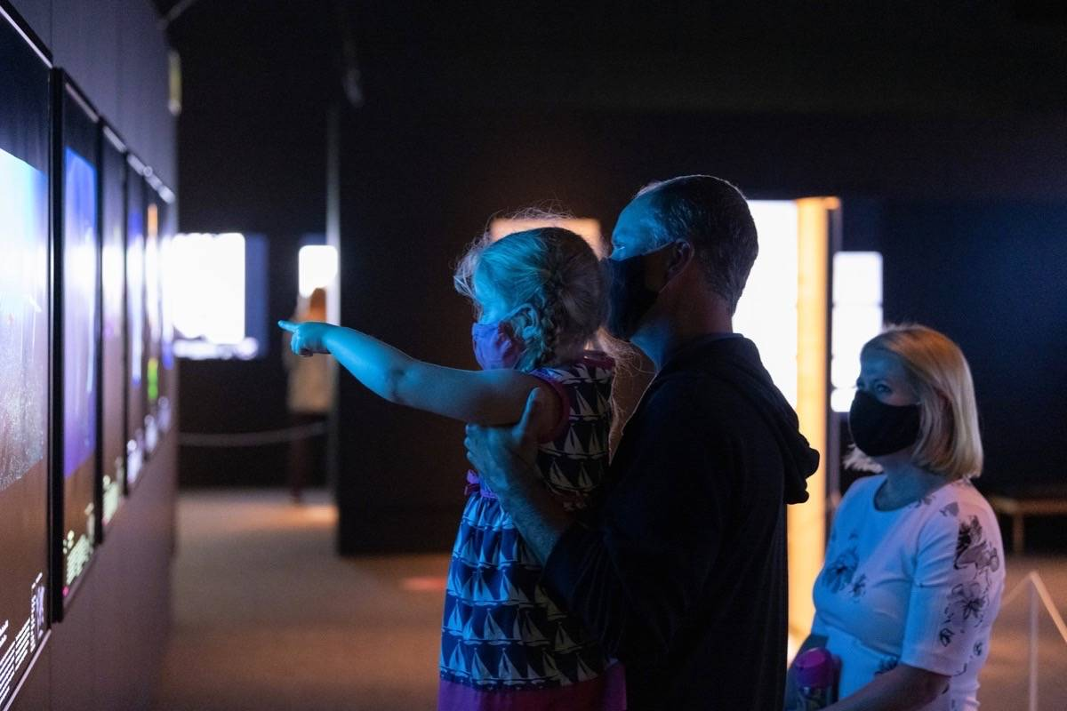 Family visits the Royal B.C. Museum as it reopens after pandemic closure, July 7, 2020. B.C.'s economic forecasts depend on how quickly business and customers have confidence to recover activities and spending. (B.C. government)