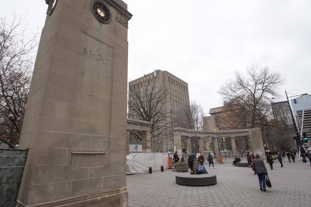 The Roddick Gates are monumental gates that serve as the main entrance to the McGill University campus are seen on November 14, 2017 in Montreal. Canada's universities are bracing for an influx of students next month from the United States, where the worsening COVID-19 pandemic is setting fresh records every day for new infections and deaths. THE CANADIAN PRESS/Ryan Remiorz