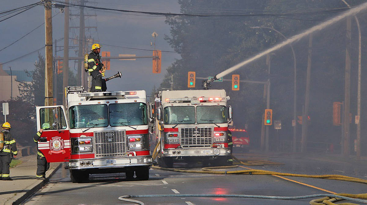 A fire late Friday afternoon, July 17, destroyed a majority of a four-storey condo complex, called Madison Place, in the 19700-block of Langley City. The blaze also left dozens of families homeless. (Shane MacKichan/Special to Langley Advance Times)