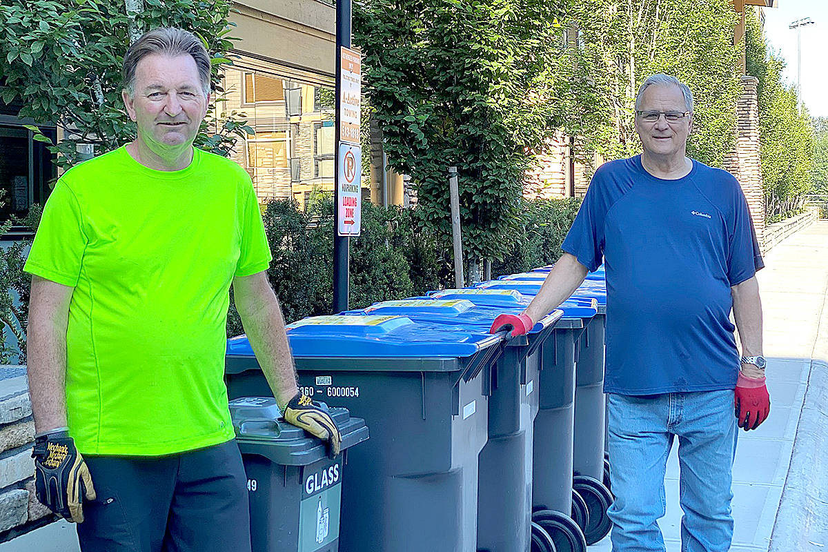 Township of Langley Recycling Ambassador Mel Matychuk (right) has recruited other volunteers within his Yorkson condominium in Willoughby and worked to save their strata council $10,000 by switching to municipal recycling pickup. (Township of Langley/Special to Langley Advance Times)