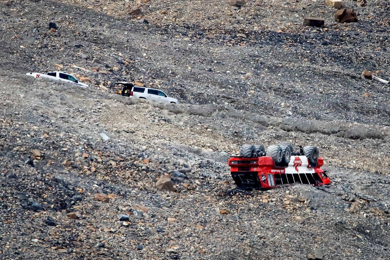 The cause of a rollover on the glacier that killed three people and sent two dozen to hospital has not been determined, in a July 20, 2020 story. (Photo by THE CANADIAN PRESS)