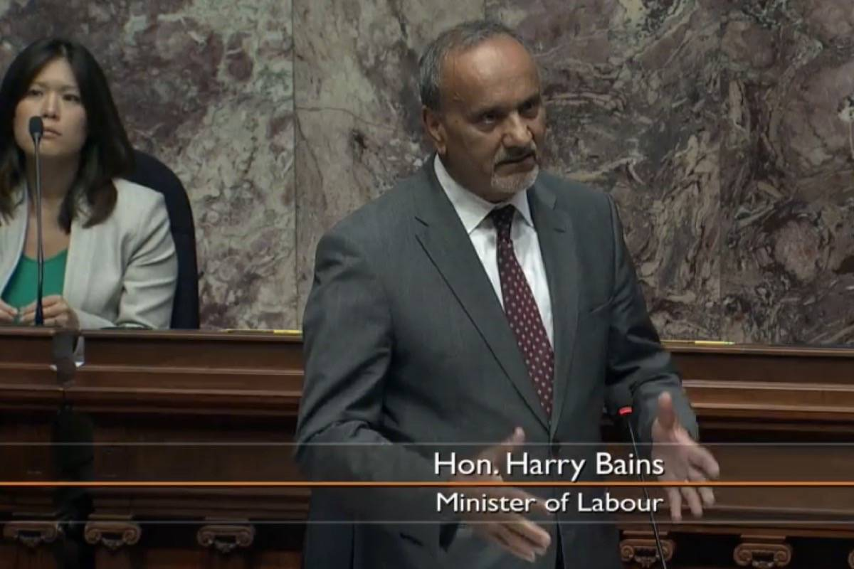 B.C. Labour Minister Harry Bains takes questions in the legislature on changes to WorkSafeBC regulations, July 21, 2020. (Hansard TV)