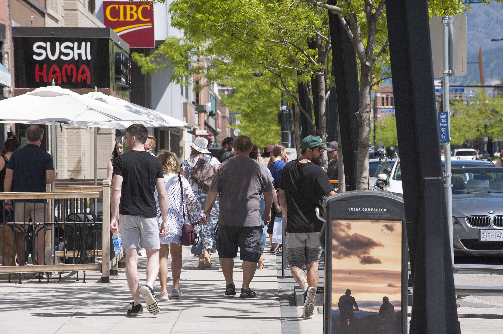 A busy Bernard Avenue in downtown Kelowna on May 18, 2020. (Michael Rodriguez - Black Press Media)
